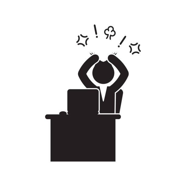 ilustrações de stock, clip art, desenhos animados e ícones de angry businessman pulling hair icon. vector. - puxar cabelos
