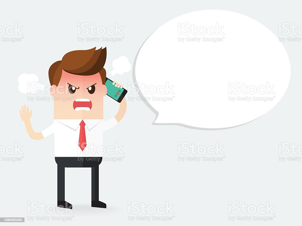 angry businessman shouting on a phone vector art illustration