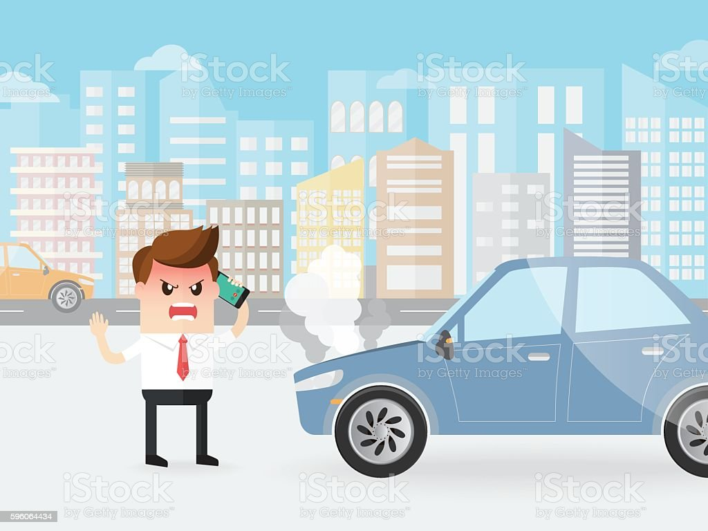 angry businessman shouting on a phone with car broke down vector art illustration