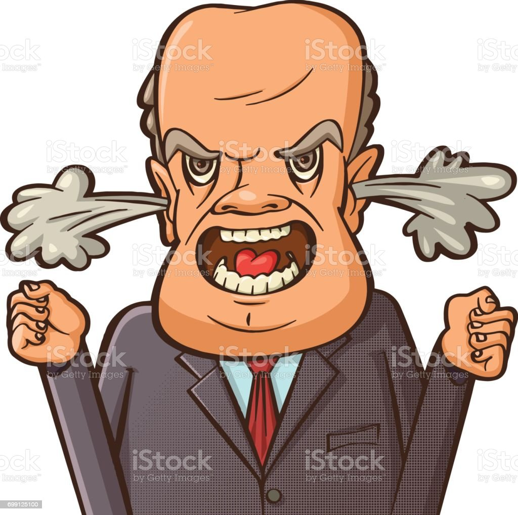 angry businessman shouting vector art illustration