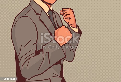angry businessman showing fists ready to fight business man concentration challenge conflict concept pop art retro style male cartoon character portrait horizontal vector illustration