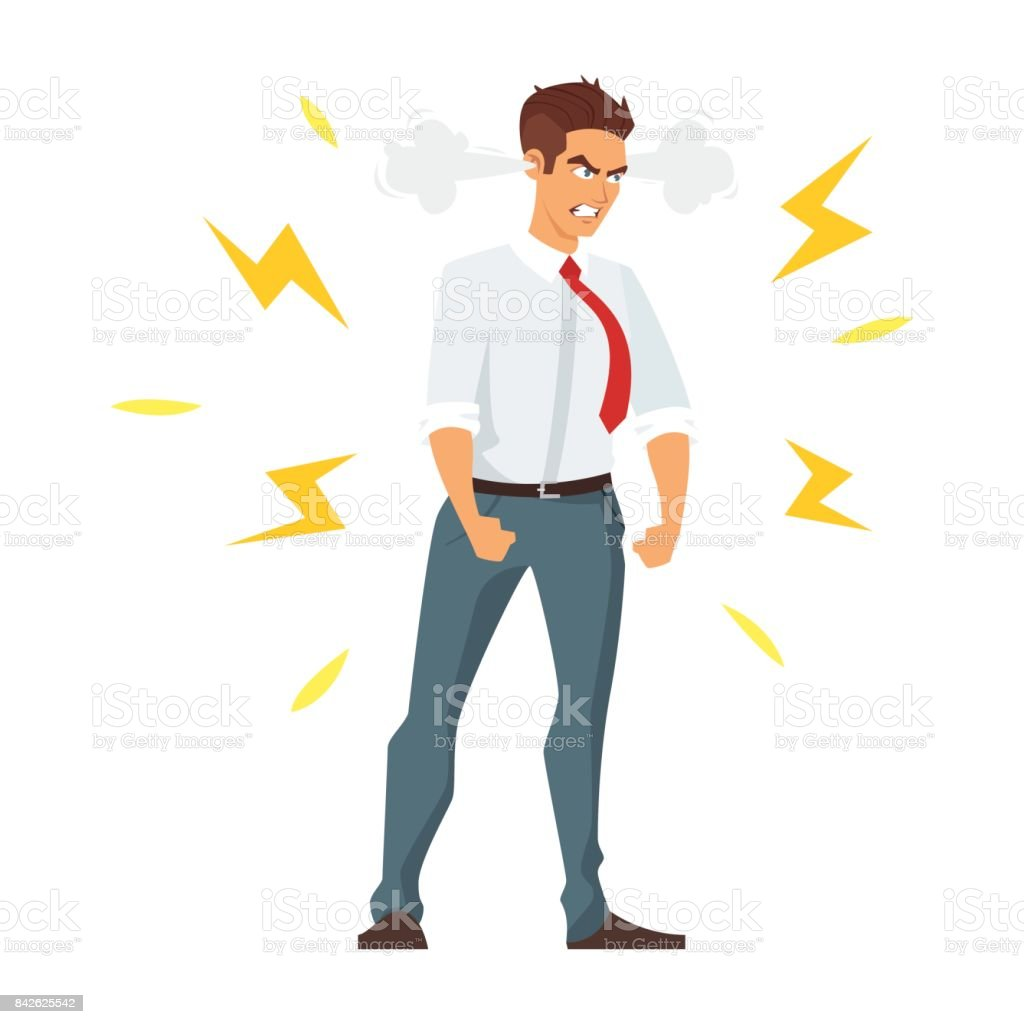 angry businessman vector art illustration