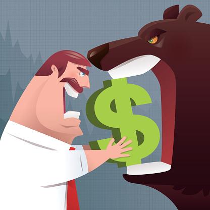 angry businessman versus bear