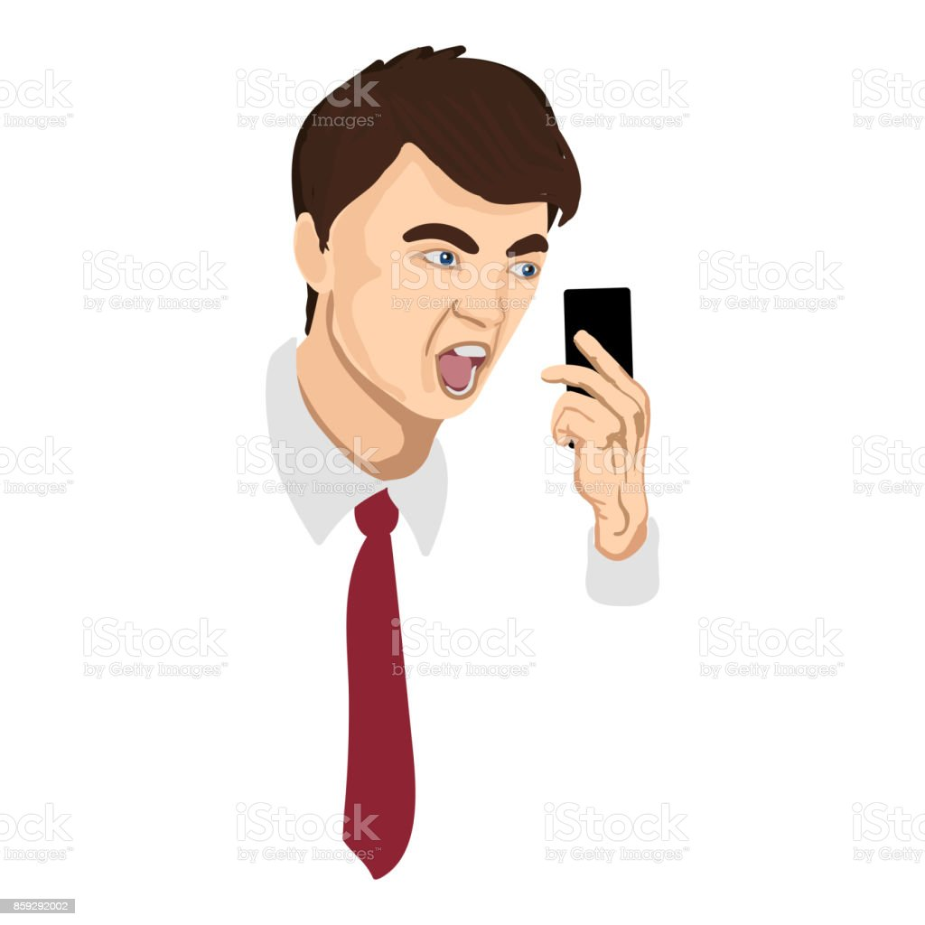 Angry businessman yelling into the telephone vector art illustration