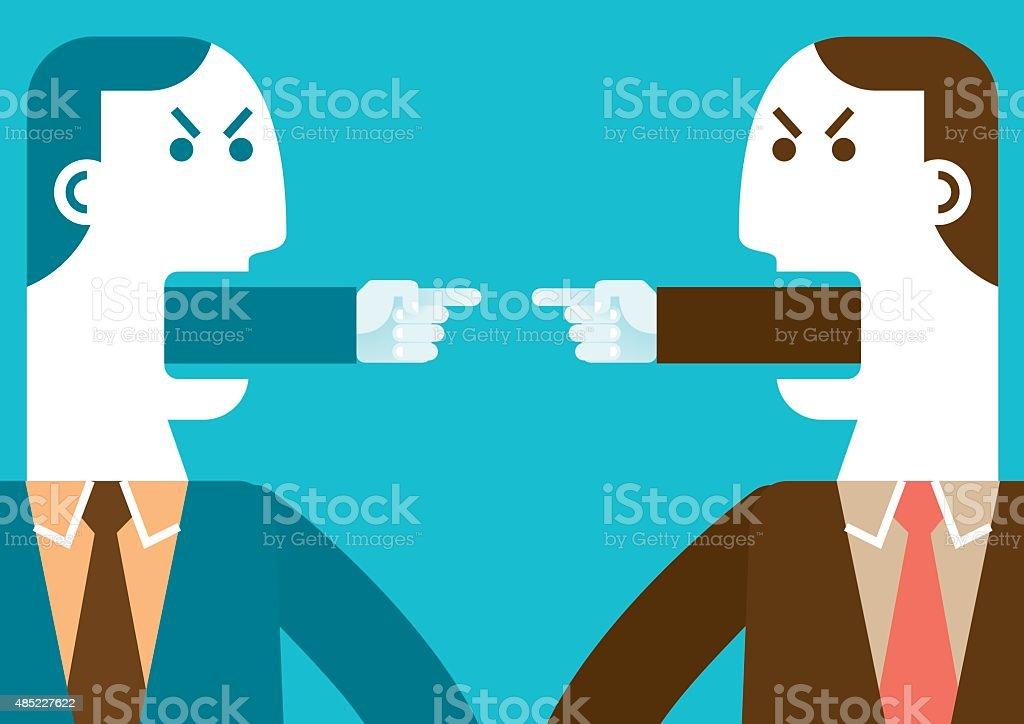 Angry homens de negócios apontando dedos/New Biz conceito - ilustração de arte em vetor