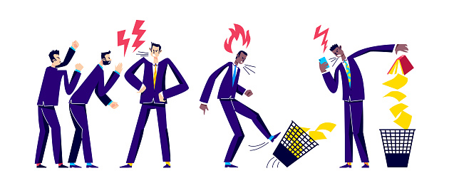 Angry businesspeople screaming. Business conflict and misunderstanding concept with furious office workers shouting and aggressive fighting. Colleagues dispute. Flat vector illustration