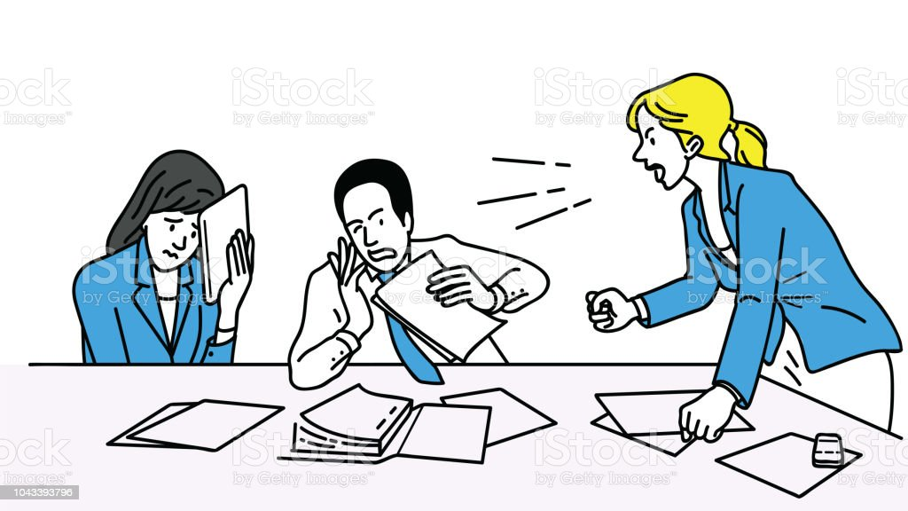 Angry businesswoman in meeting vector art illustration