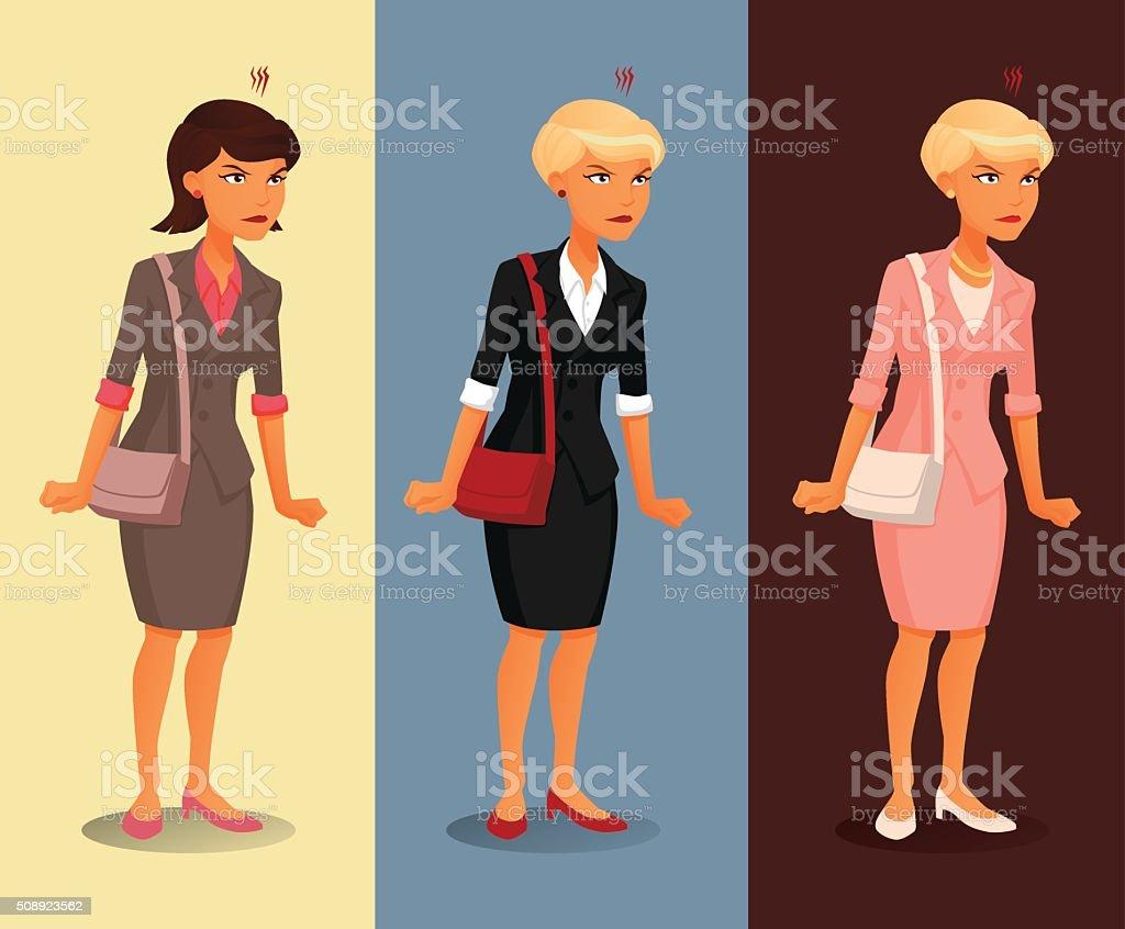Wütend Geschäftsfrau Mit Verschiedenen Frisuren Und Kleidung Farben