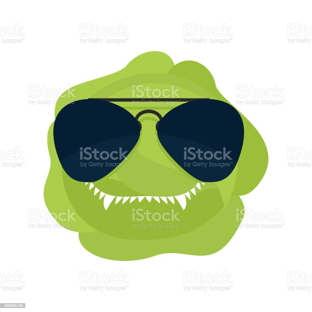 Angry cabbage. Aggressive green vegetable. Dangerous fruit vector art illustration