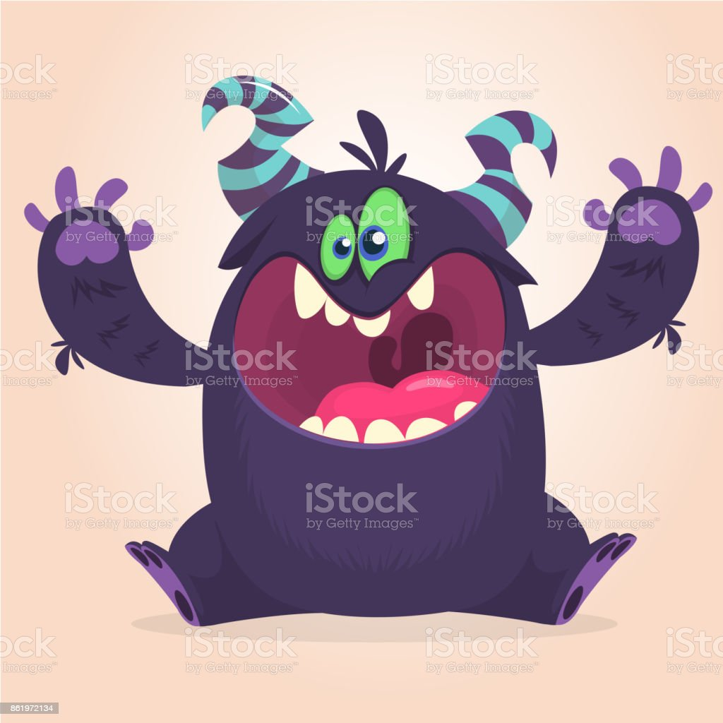 Angry cartoon black monster screanimg. Yelling angry monster expression. vector art illustration