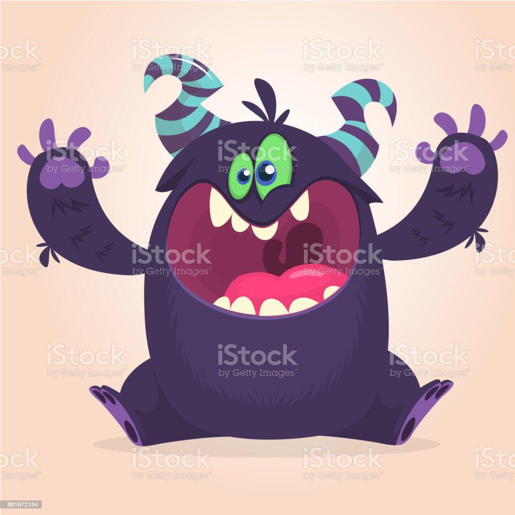Screanimg de monstro negro com raiva dos desenhos animados. Expressão de monstro zangado a gritar. - ilustração de arte em vetor