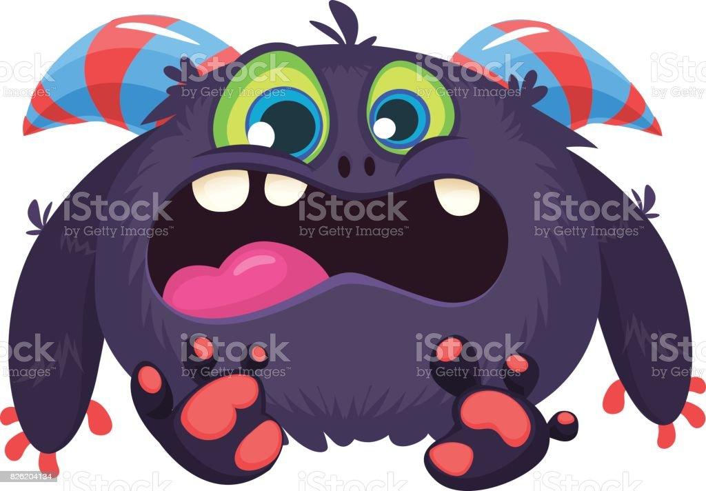 Angry Cartoon Black Monster Screanimg Yelling Angry Troll Or