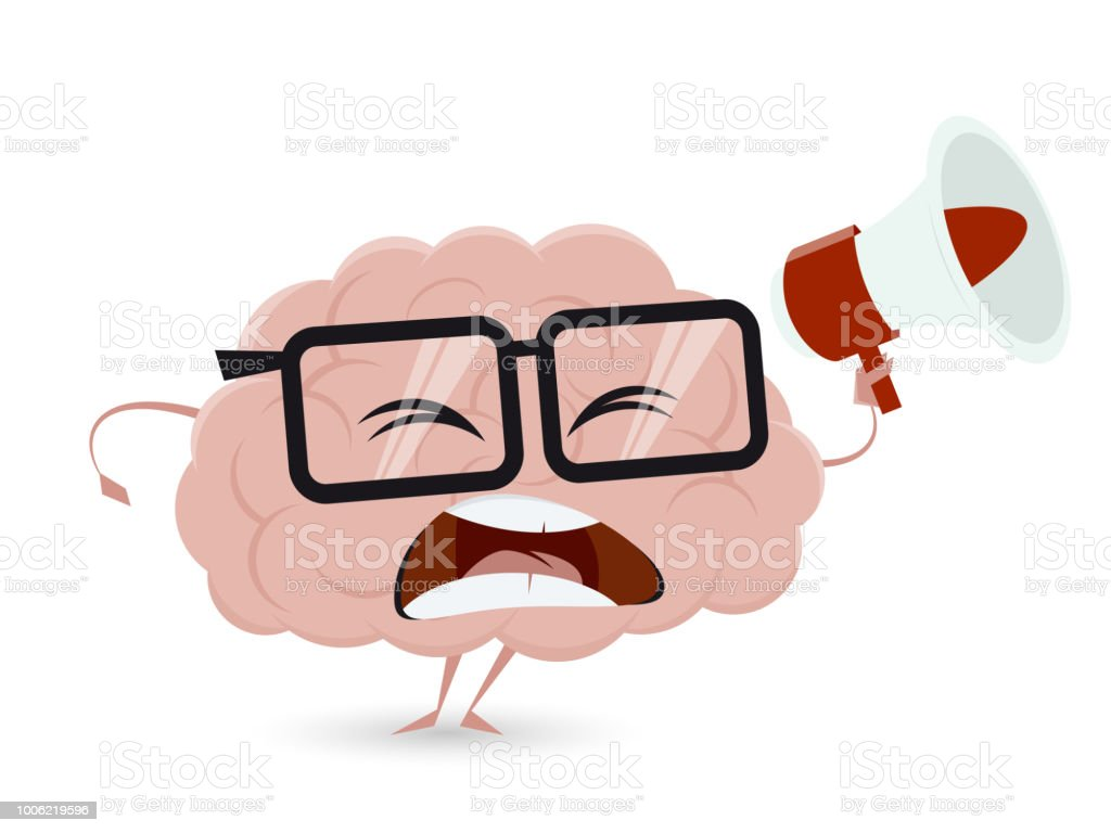 angry cartoon brain with loudhailer vector art illustration