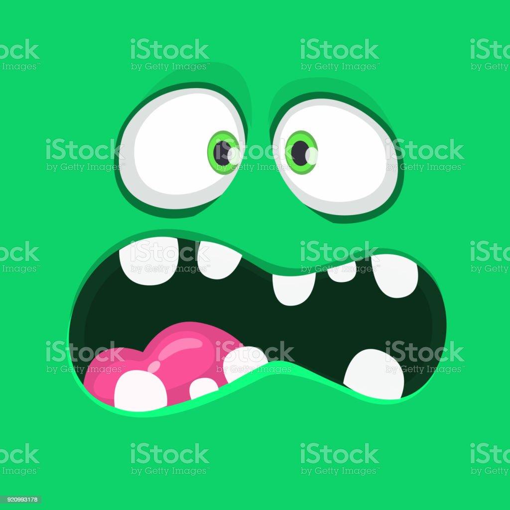 Ilustración de Cara De Monstruo Verde De Dibujos Animados Enojado ...