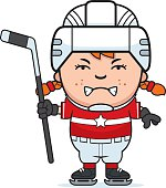 A cartoon illustration of a child hockey player looking angry.