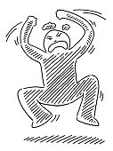 Hand-drawn vector drawing of an Angry Cartoon Human Figure Jumping around. Black-and-White sketch on a transparent background (.eps-file). Included files are EPS (v10) and Hi-Res JPG.