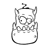 Angry cartoon monster character outlines. Coloring book. Halloween illustration