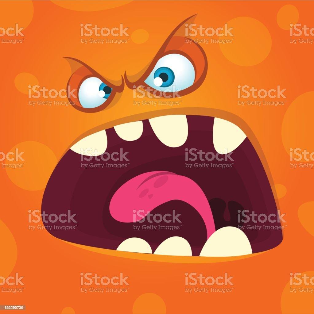 Visage de monstre cartoon en colère. Illustration de l'Halloween. Conception de tirages pour les t-shirts - Illustration vectorielle