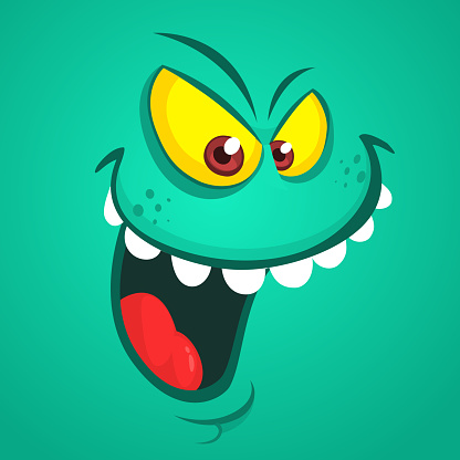 Angry cartoon monster face. Vector Halloween  monster avatar