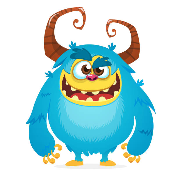 Wütend Cartoon Monster. Halloween-Vektor blau und gehörnte Monster. Yeti oder Bigfoot Charakter – Vektorgrafik