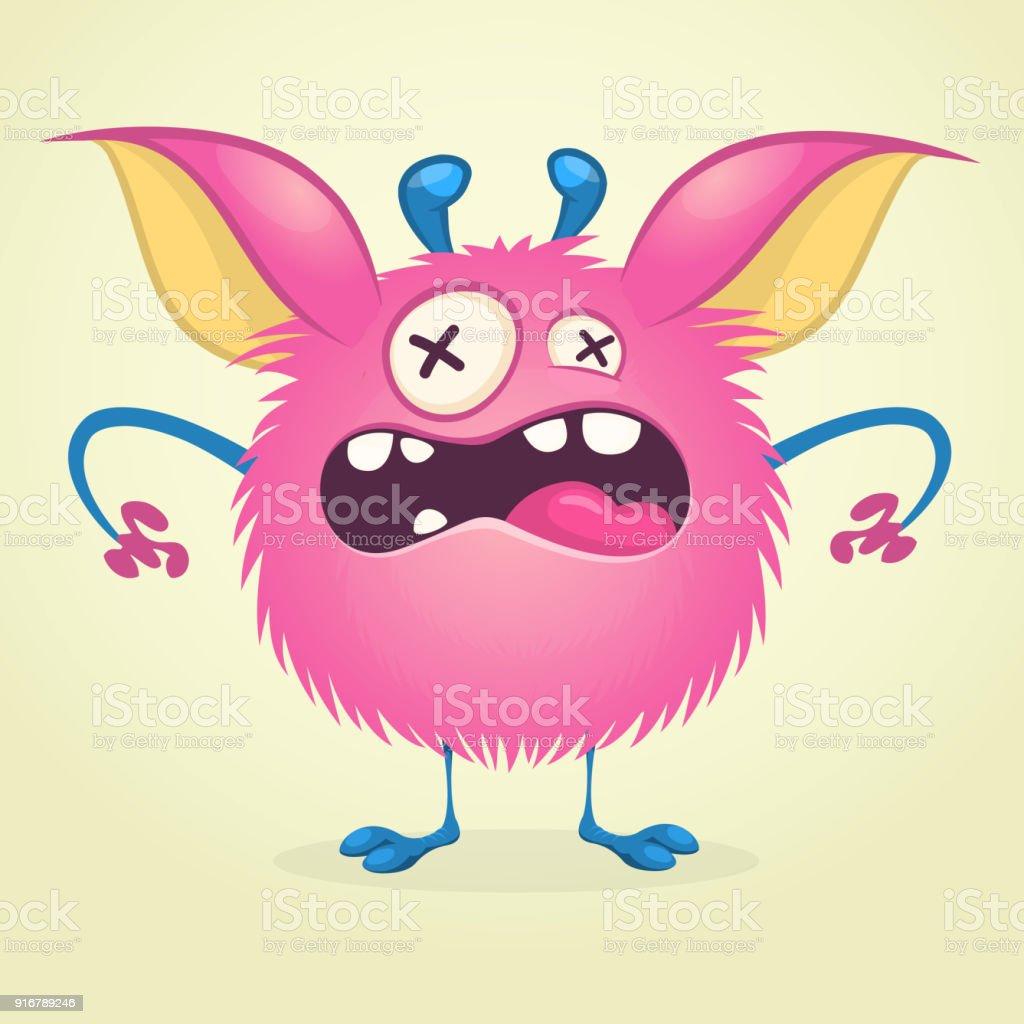 Ilustración de Monstruo De Dibujos Animados Enojado Carácter De ...