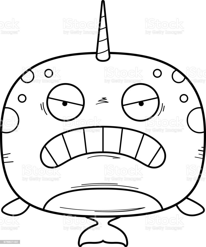 Angry Cartoon Narwhal vector art illustration