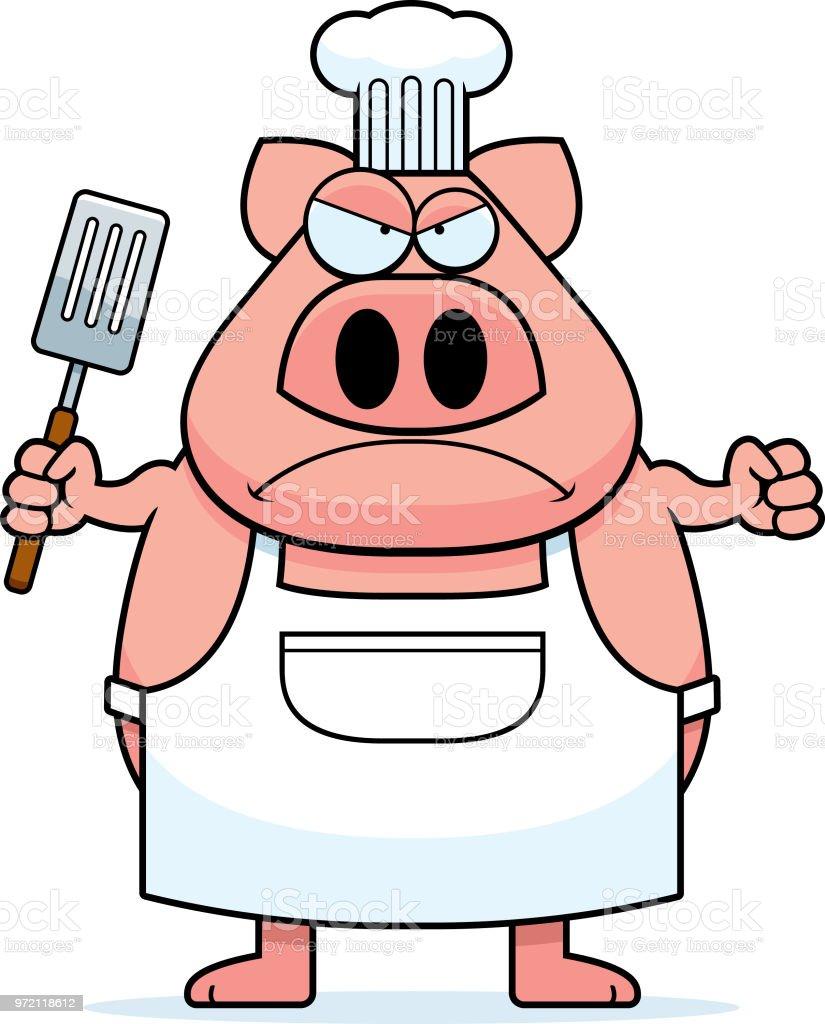 Koch bei der arbeit clipart  Wütend Cartoon Schwein Koch Stock Vektor Art und mehr Bilder von ...