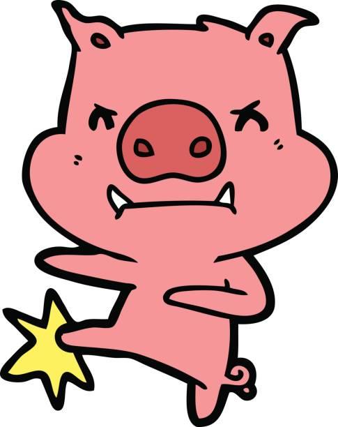 angry cartoon pig karate kicking vector art illustration