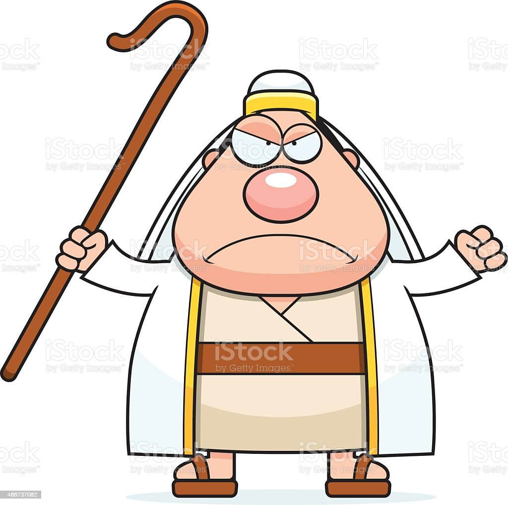 Angry Cartoon Shepherd vector art illustration