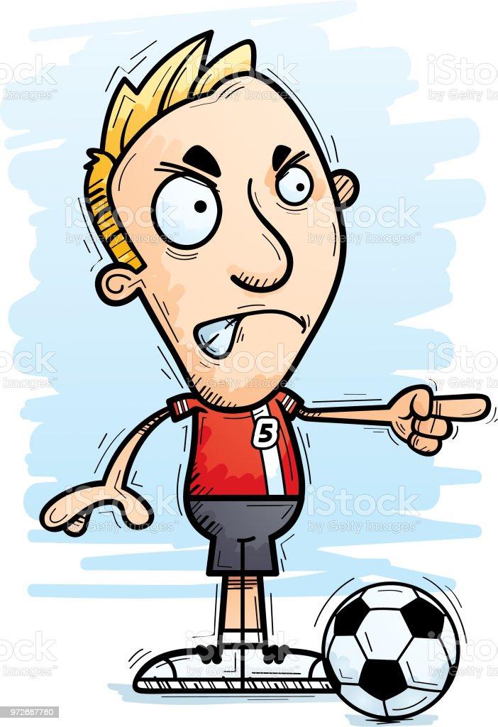 Wutend Cartoon Fussballspieler Undtrainer Stock Vektor Art