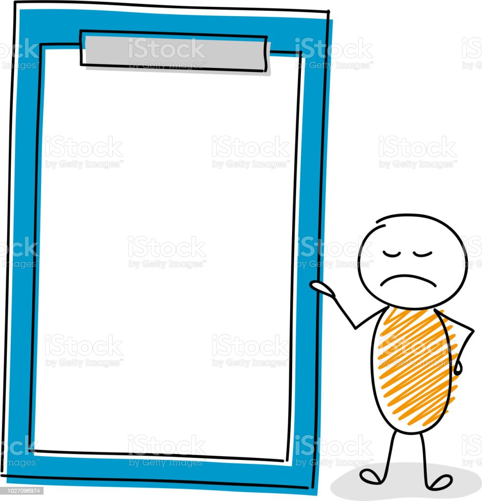 Angry cartoon stickman showing  clipboard with copyspace. Vector. vector art illustration