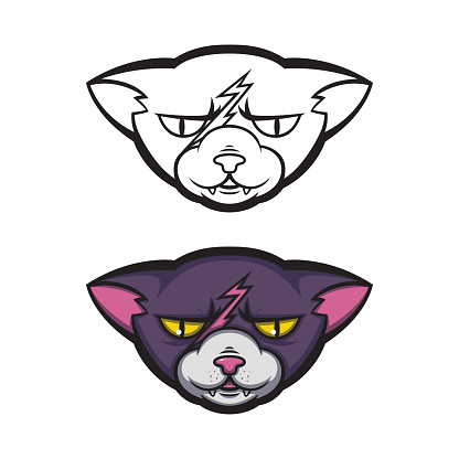 Angry cat with a scar on his forehead. Grumpy pussycat. Vector illustration for logo, t-shirt print design.