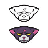 istock Angry cat with a scar on his forehead. Grumpy pussycat. Vector illustration for logo, t-shirt print design. 1255047958