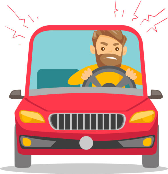 Angry caucasian man in car stuck in traffic jam vector art illustration