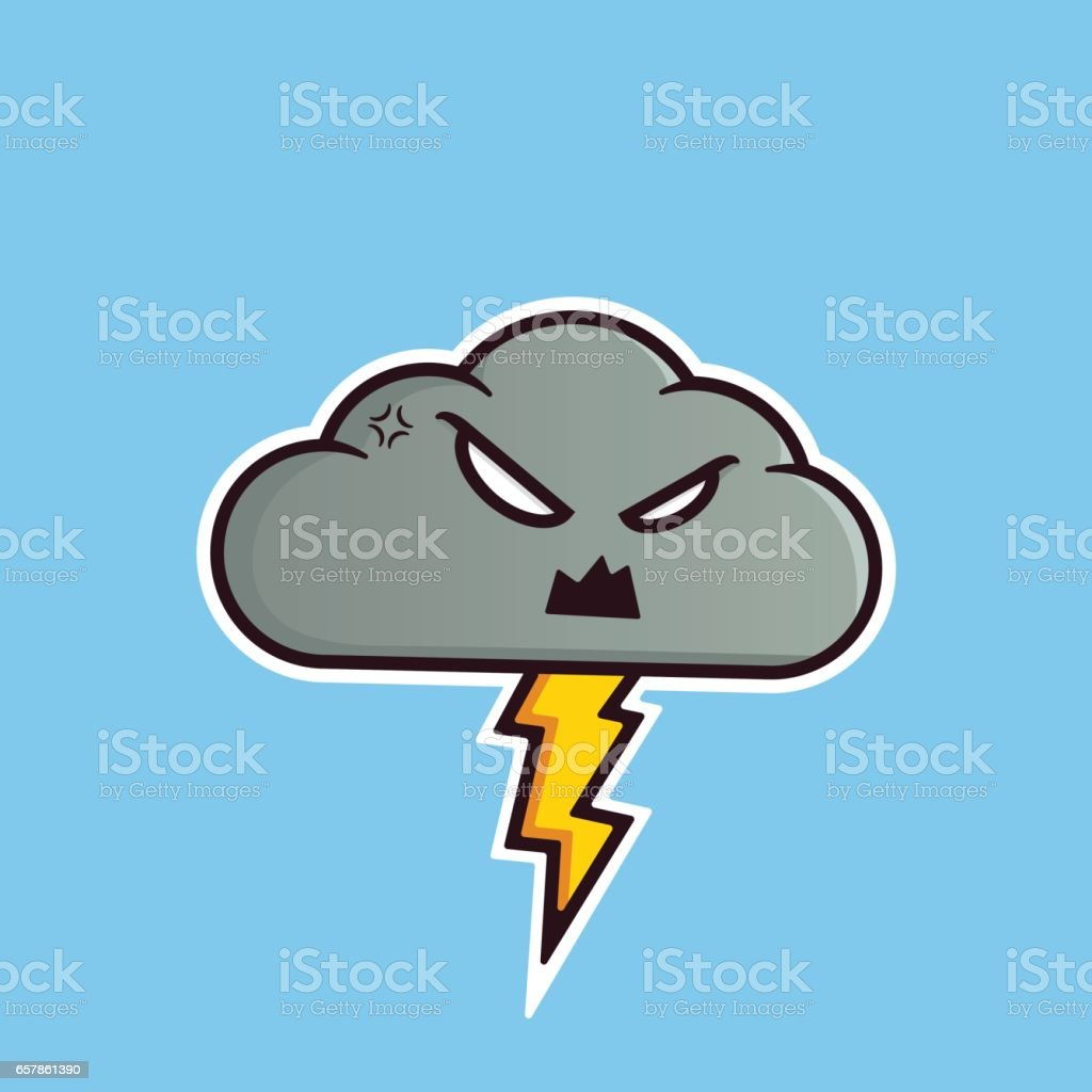 Angry cloud emoticon with thunders. vector art illustration