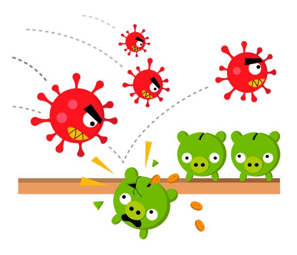 Angry coronavirus attacks piggy banks cash savings for a rainy day vector art illustration