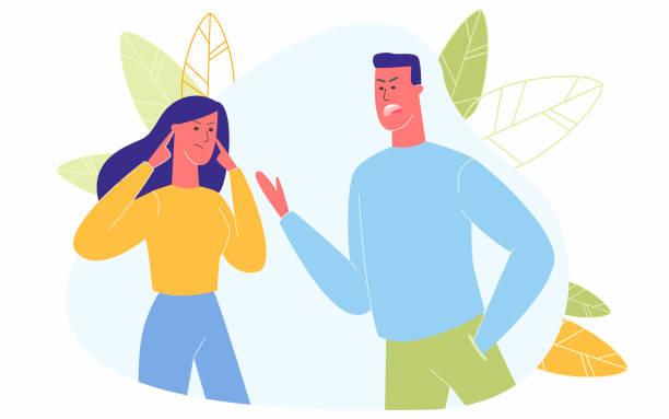 stockillustraties, clipart, cartoons en iconen met boos paar dat het schreeuwen schreeuwen die elkaar beschuldigen - couple fighting home