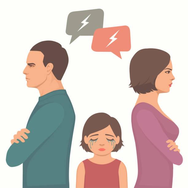 illustrazioni stock, clip art, cartoni animati e icone di tendenza di angry couple fight, parents divorce, sad child crying - divorzio