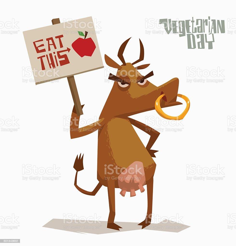 怒った牛の保持ポスターをサポートのベジタリアン のイラスト素材