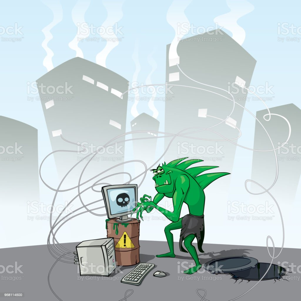 Angry Cunning Monster Hacker Infect Computer Virus vector art illustration