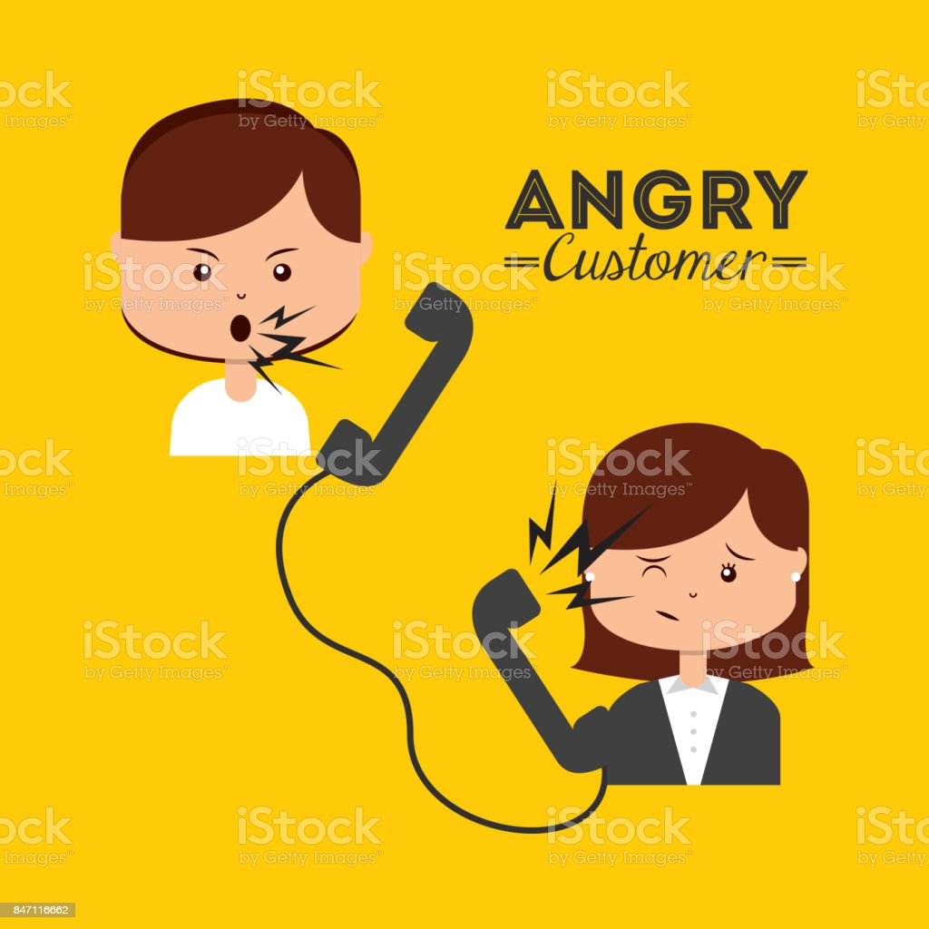 angry customer vector art illustration