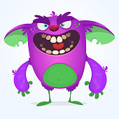 Angry cute cartoon monster. Halloween vector illustration