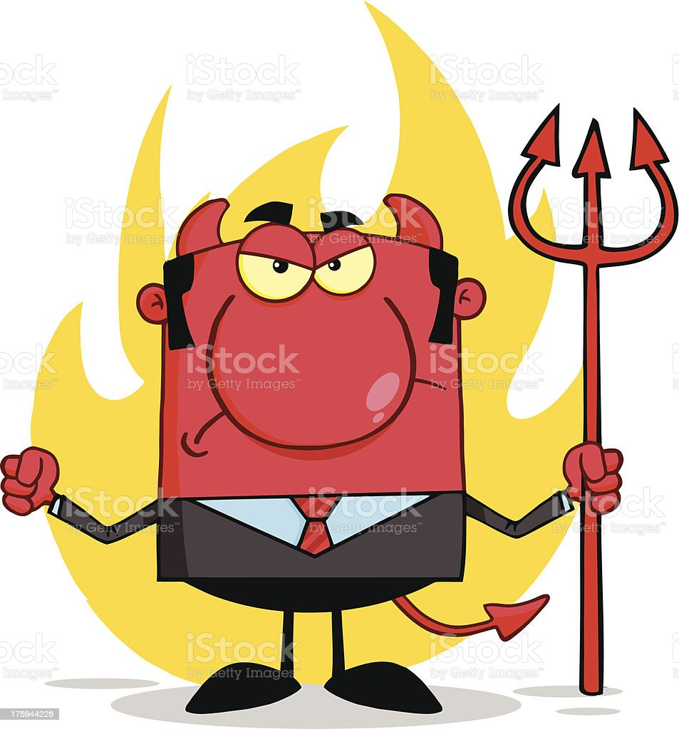 Angry Devil With A Trident royalty-free stock vector art