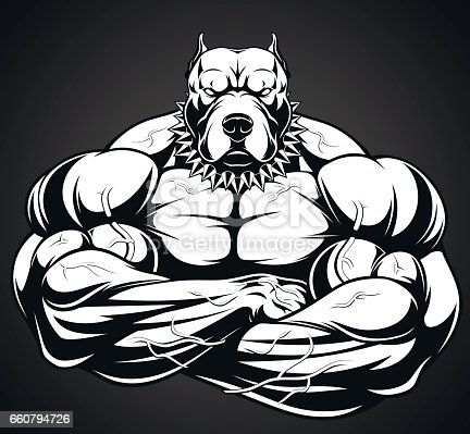 Angry dog bodybuilder stock vector art more images of - Cartoon body builder ...