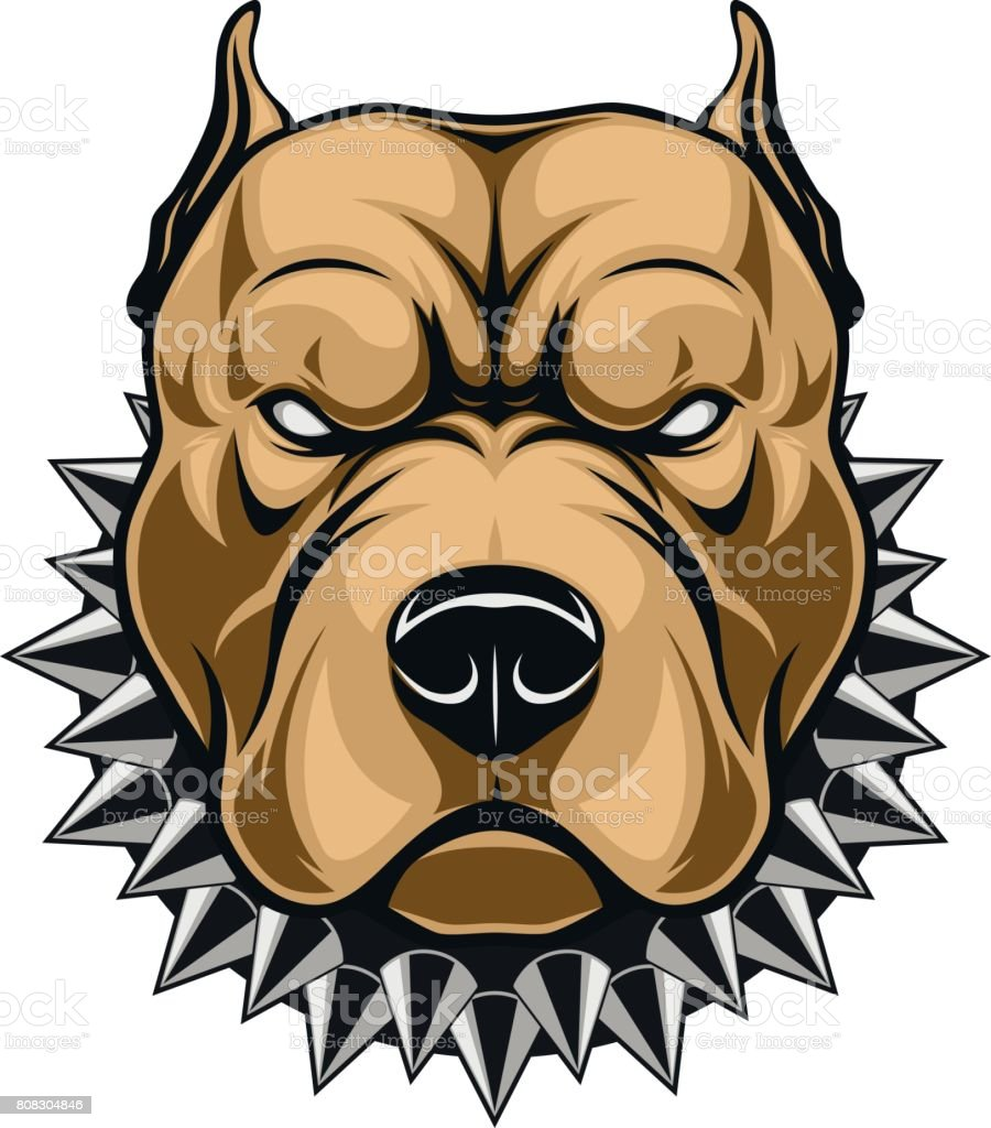 Angry dog head vector art illustration