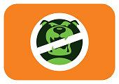 vector illustration of angry dog warning sign