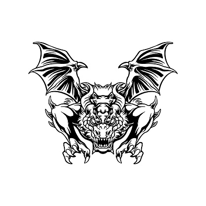 Angry dragon attack illustrations Silhouette illustrations for your work Logo, mascot merchandise t-shirt, stickers and Label designs, poster, greeting cards advertising business company or brands.