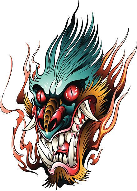 Angry Dragon Head vector art illustration
