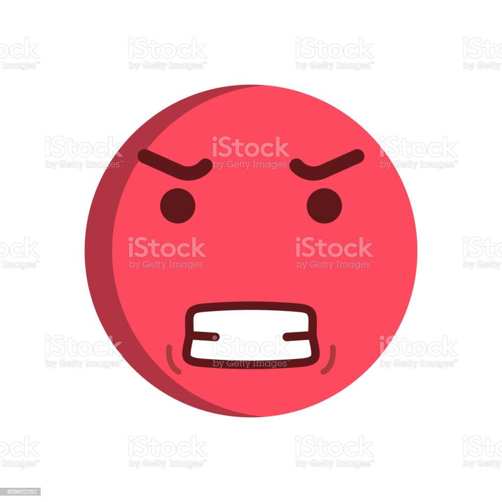 Angry emoticon. Vector smiley emoji icon vector art illustration