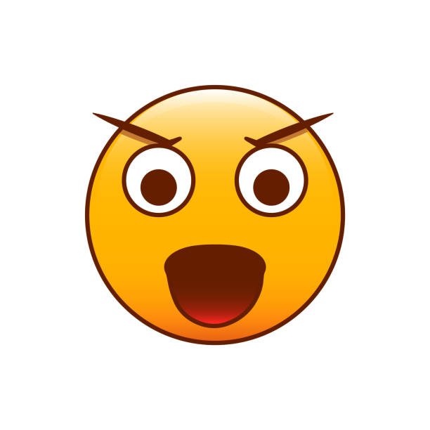 angry emoticon. vector smiley - jealous emoji stock illustrations, clip art, cartoons, & icons